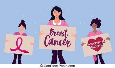 breast cancer campaign animation with interracial girls lifting banners ,4k video animated