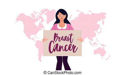 breast cancer campaign animation with woman and lettering in banner ,4k video animated