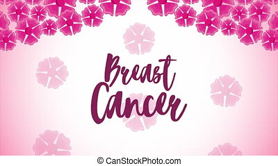 breast cancer campaign lettering animation with flowers pattern ,4k video animated