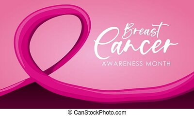 breast cancer campaign lettering animation with ribbon pink ,4k video animated