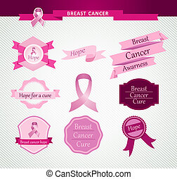 Breast cancer awareness vintage ribbons and labels set. EPS10 vector file organized in layers for easy editing.