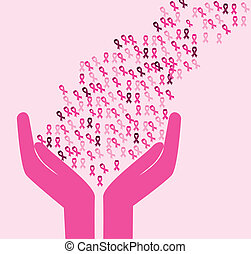 Breast cancer design over pink background, vector...