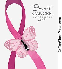 Breast cancer design with butterfly and ribbon