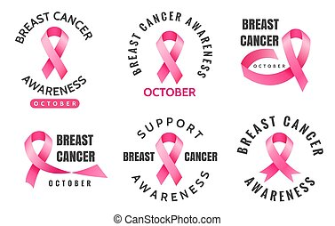 Breast cancer emblems. Vector woman pink ribbons aware logo signs isolated on white background