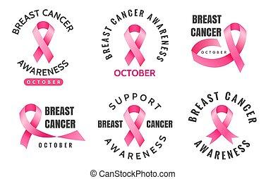 Breast cancer emblems. Vector woman pink ribbons aware logo ...