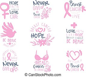 Breast Cancer Fund Collection Of Colorful Promo Sign Design Templates In Pink Color With International Cancer Sickness Symbols And Motivating Slogans