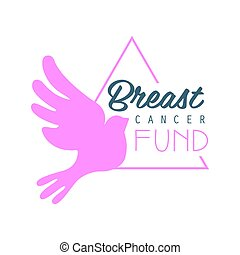 Breast cancer fund label. Vector illustration in pink colors