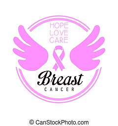 Breast cancer, hope, love, care label. Vector illustration in pink colors