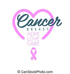 Breast cancer, hope, love, care label with heart. Vector illustration in pink colors