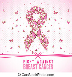 breast cancer - Illustration of breast cancer, butterfly...