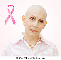 Breast cancer patient - Breast cancer ribbon - portrait of...