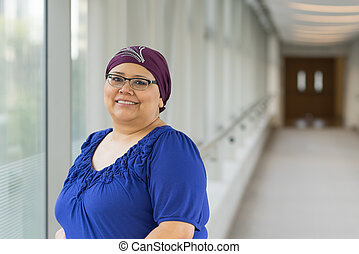 Breast Cancer Patient Wearing Hair Cap - Woman diagnosed...