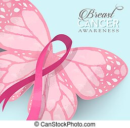 Breast cancer pink butterfly ribbon illustration