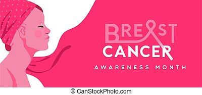 Breast cancer pink hair woman survivor banner