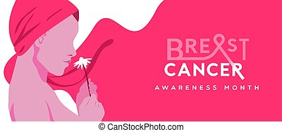 Breast Cancer pink headwrap woman with flower