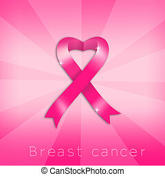 Breast cancer prevention with pink heart ribbon