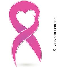 Breast cancer ribbon concept logo