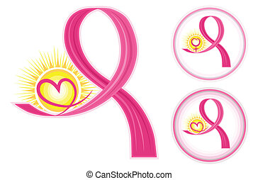 Hope for breast cancer - set of pink ribbons icons with heart and female gender symbol. Vector file saved as EPS AI8, all elements layered, grouped, no effects, easy edit and print.