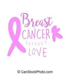 Breast cancer support love label. Hand drawn vector illustration