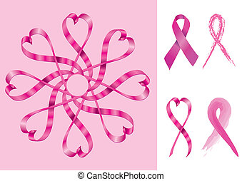 Breast Cancer Support Ribbons - Vector
