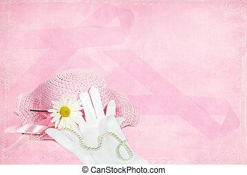 Breast Cancer Survivor - Pink hat on pink ribbon background.