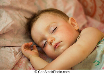 Sleeping tot, small boy, breast child, Shallow DOF