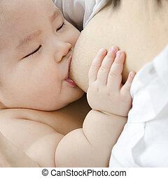 Breast feeding - Asian mother breast feeding her infant