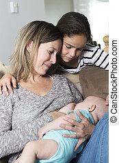 Breast feeding baby.