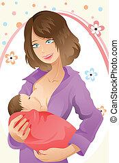 Breast feeding woman - A vector illustration of a woman...