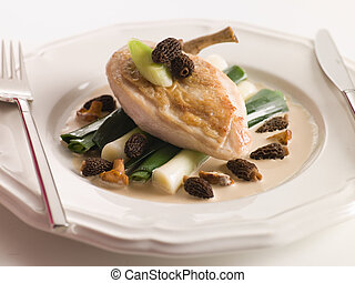 Breast of Chicken with Morels Baby Leeks and Madeira Cream