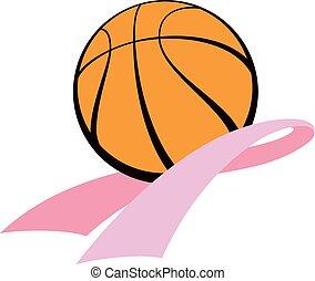 breastCancerBasketball - Pink cancer ribbon swooshing...