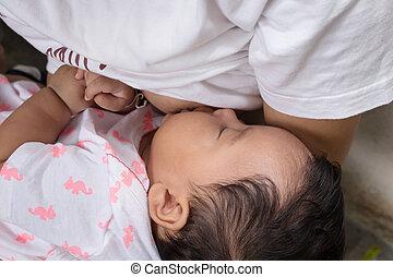 Breastfeeding Concept,mother breastfeeding newborn baby