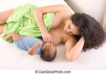 breastfeeding, jej, etniczny, syn, hispanic, macierz
