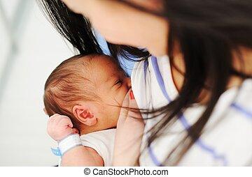 breastfeeding, nouveau né, mère, elle, bébé