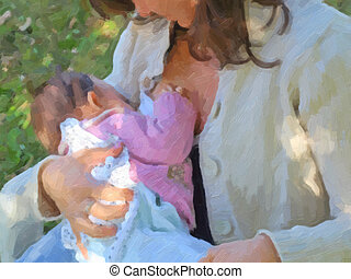 Breastfeeding oil paint - Pretty young brunette mum...