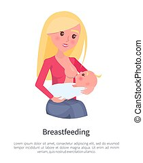 Breastfeeding Poster Blonde Young Mother Feeding -...