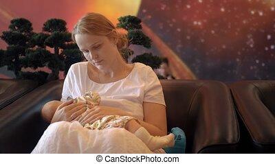 breastfeeding, salon, aéroport, femme, bébé
