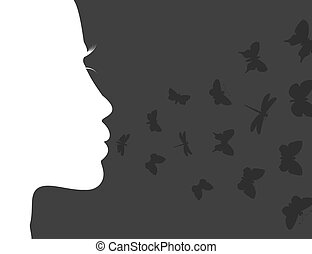 Breath of the butterfly - Butterflies fly from a mouth of...