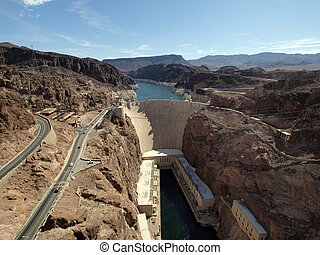 Breath taking Aerial view of the Colorado River, Hoover Dam, and road taken from bypass bridge on the border of Arizona and Nevada, USA.