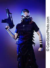 breather - Shot of a conceptual man in a respirator holding...