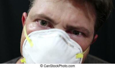 Horror clip breathing man mask transformation