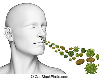 Breathing pollen - 3d rendered illustration of a guy...