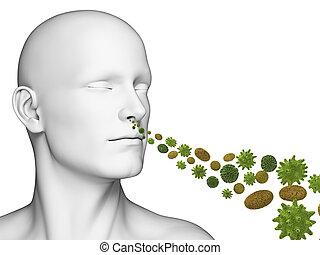 Breathing pollen - 3d rendered illustration of a guy ...