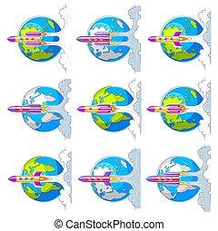 breathtaking , λεπτός , θέτω , μικροβιοφορέας , science., απομονωμένος , εκτοξεύω , space., γη , πάνω , white., 3d , ρουκέτα , γραμμή , σύμπαν , διάστημα , εξερευνώ , undiscovered, πλανήτης , διευκρίνιση