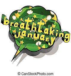 Breathtaking January - Comic book style word.
