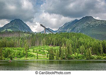 Breathtaking mountain lake in Strbske Pleso in Slovakia