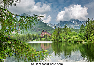 Breathtaking mountain lake in Strbske Pleso in summer