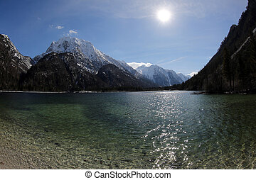 breathtaking panoramic view of Predil Lake in Northern Italy nea