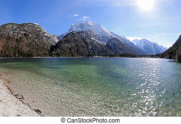 breathtaking panoramic view of Predil Lake in Northern Italy