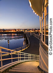Breathtaking picture along pier back to seafront town alight...
